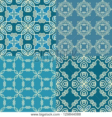 Vector set of geometric linear patterns in blue and turquoise colours reminiscent of the Arabic style suitable for Wallpaper textile design web design packaging.