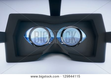 Virtual reality glasses with city view on grey background. 3D Rendering