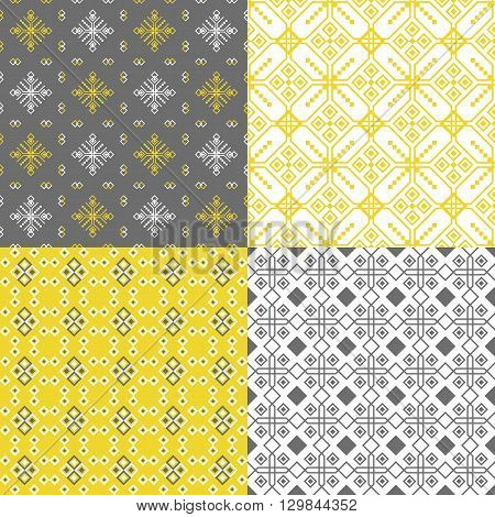 The set of linear geometric patterns using grey yellow and white flowers suitable for design of home textiles with patterns-companions ceramics web design posters packaging paper