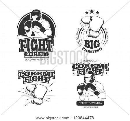 MMA vector vintage emblems, labels, badge, logos. Sport logotype or badge for boxing and kickboxing or mma, athlete martial emblem mma illustration