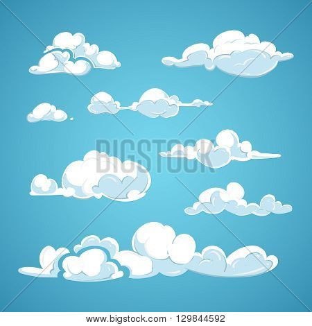Cartoon clouds vector set. Cloud nature design element and collection clouds in air illustration