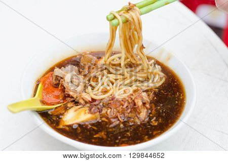 A bowl of Loh mee local food in Penang Malaysia