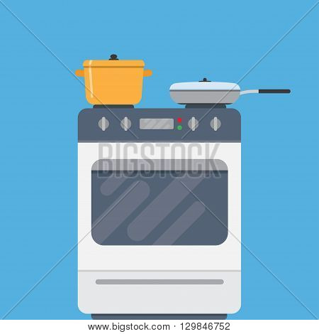 Electric oven and saucepans. Kitchen appliances kitchen interior utensils concepts. Front view. Modern flat design vector illustration isolated on blue background