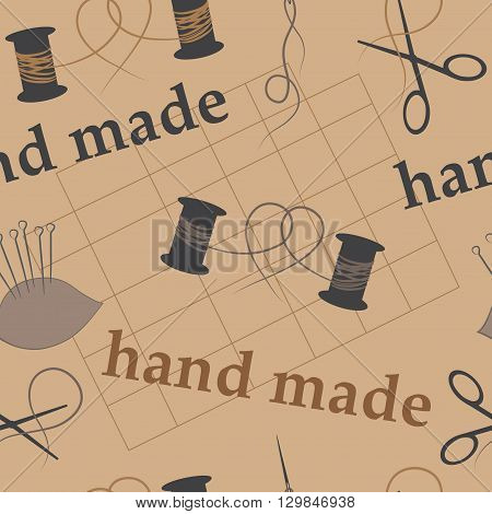 seamless background craft and handmade thread, needle, scissors