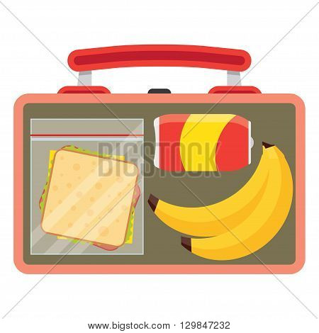 Lunch vector illustration. Lunch break concept. Lunch time design. Lunch box sandwich soda and an banana. Lunch icon in flat style. Lunch school. Lunch kids image.