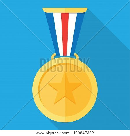 Gold medal. Gold medal icon. Gold medal with long shadow. Isolated gold medal. Gold medal for first place. Gold medal flat icon