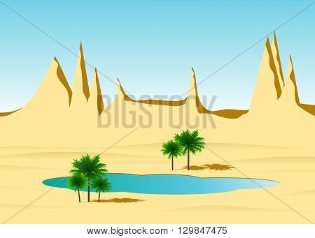 A desert oasis, rocks from sand, the lake and palm trees