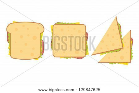 Set of three delicious sandwich illustrations rectangle triangle and wrap.