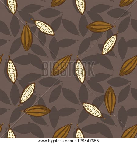 Cocoa beans seamless pattern. Chocolate background. Organic raw cocoa beans coffee beige pattern.