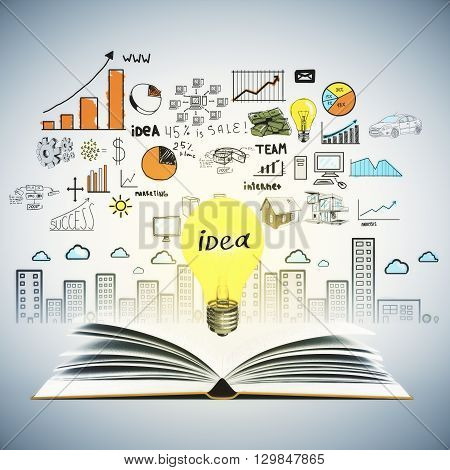 Idea concept with open book illuminated lightbulb and colorful business sketch on wall. Creative business sketching. Abstract image containing education and business objects