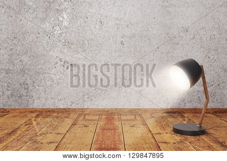 Turned on lamp on wooden surface and concrete wall background. Mock up 3D Rendering