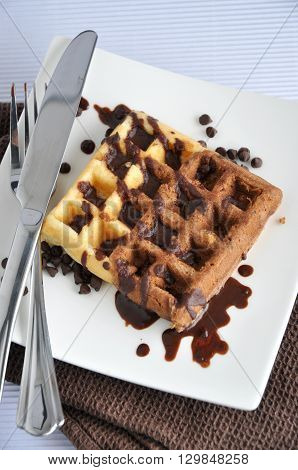 Above of two tone waffle with chocolate sauce