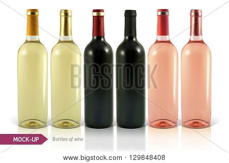 Mockup realistic bottles of wine on a white background with reflection and shadow. Template for wine label design.