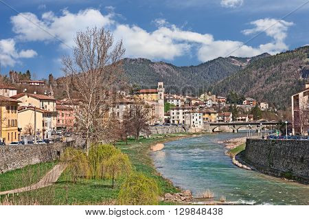 landscape of the little town Santa Sofia with the river and the Apennine mountains in province of Forli, Emilia Romagna, Italy