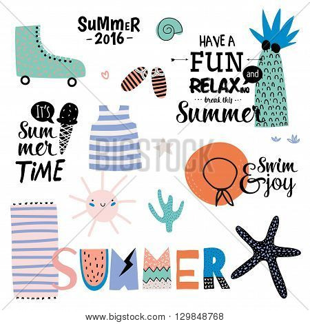 Cute Summer Design Scandinavian Set of Trandy Holiday Summer Elements. Summer Typographic. Vector. Isolated. White Background. Trandy Summer Concept.