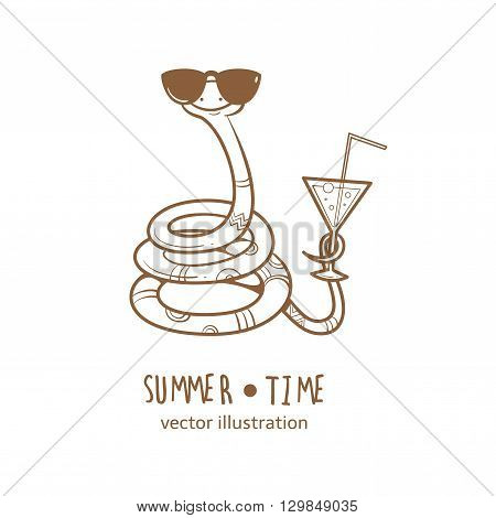 Summer card with cute cartoon  snake  in  sunglasses. Glass with a cocktail.  Summer time. Vector contour  image. Children's illustration. Transparent background.