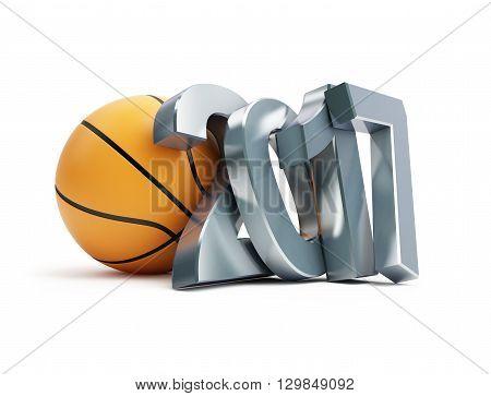 basketball ball 2017 3D illustration on a white background