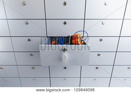safety deposit box in a bank with dynamite 3D illustration