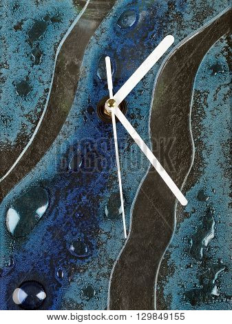 abstract glass fusion wall clock with white pointers