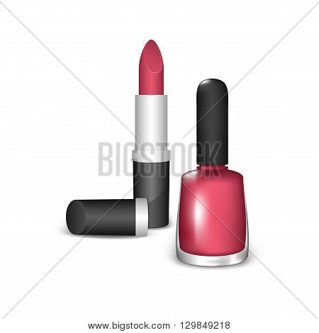 Nail Polish and Lipstick on a White Background. Cosmetics of Red Color.