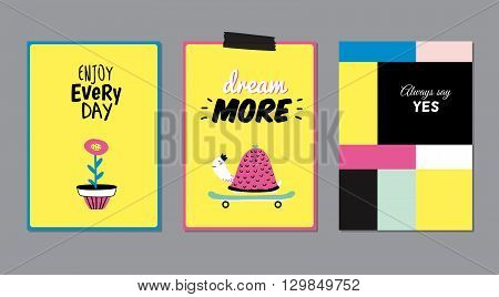 Cute Posters with Trendy Animal Elements. Quote Typographic. Scandinavian Style. Vector. Isolated. Enjoy Every Day. Dream More. Good for Cards, Tags, Stickers and  Placards