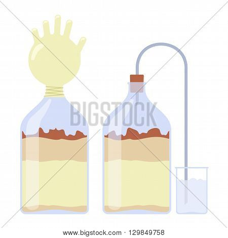 sealed glass bottles of home brew. Vector flat Illustration. Isolated on a white background