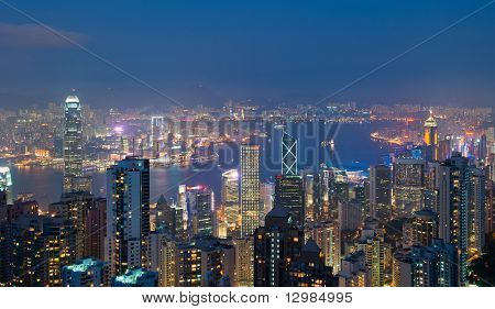 Hong Kong At Night, View From Victoria Peak