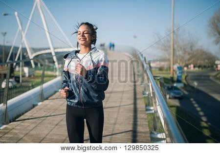 Beautiful Hispanic Woman Running
