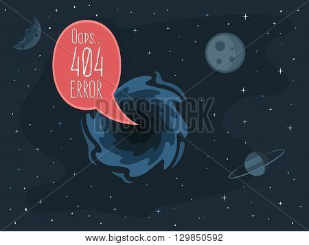 404 error page template for website. Open space. Bubble message from the black hole on the background of planets and stars. Vector illustration for web design 404 page not found