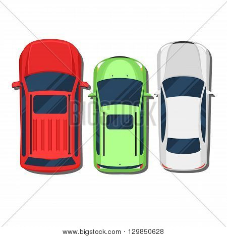 Cars top view. SUV, hatchback, wagon, sedan. Flat style color vector illustration isolated on white background for web design or print