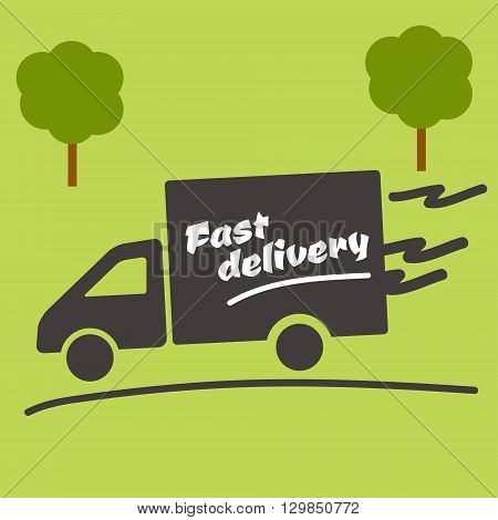 Icon of Fast delivery. The business. Car on green background.