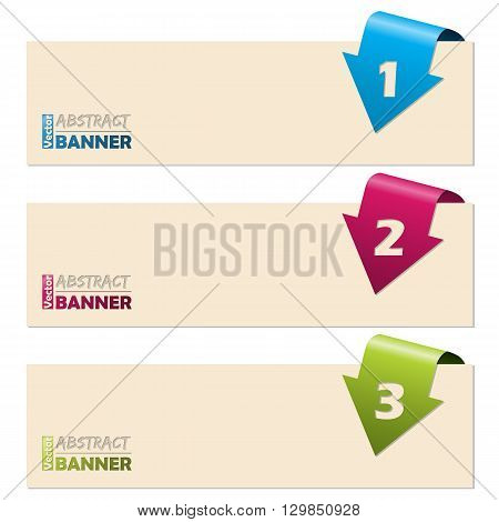Simplistic banner set with folding arrow numbers