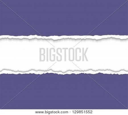 Torn paper with ripped paper edges. Torn paper frame for text.  Vector colorful torn paper background with white copyspace and ripped torn paper edges.