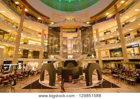 KUALA LUMPUR - MAY 8: Exterior of PAVILION on May 8 2016 in Kuala Lumpur Malaysia. PAVILION is the largest shopping destination in Malaysia consist of luxury fashion food and urban leisure.