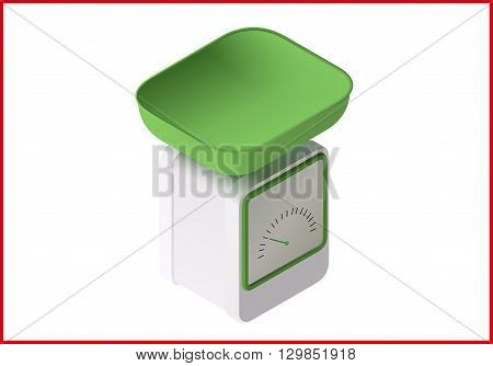 Weight scale isometric perspective view flat vector 3d illustration