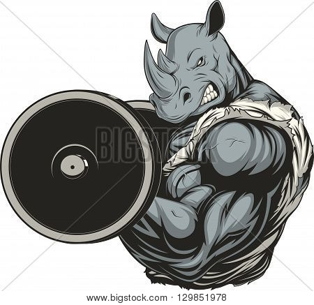 Vector illustration of a ferocious rhino raises the barbell on biceps