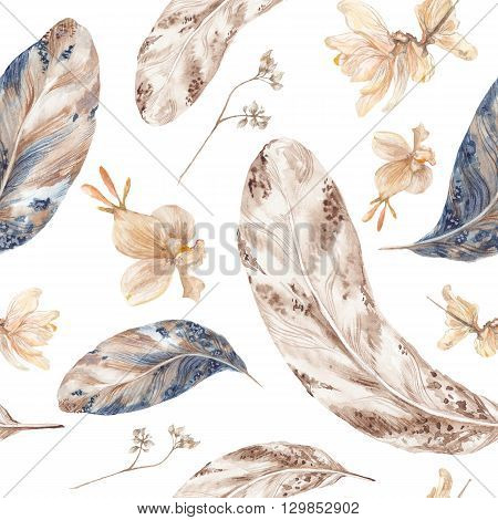 Seamless vintage hand-painted texture with autumn herbarium on white background for wallpaper, textile design