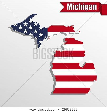 Michigan State map with US flag inside and ribbon