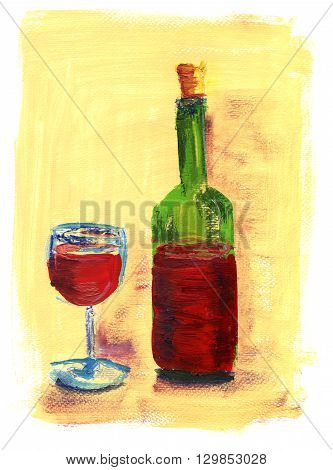 A loose acrylic painting of a glass and a bottle of red wine on yellow texture with copyspace