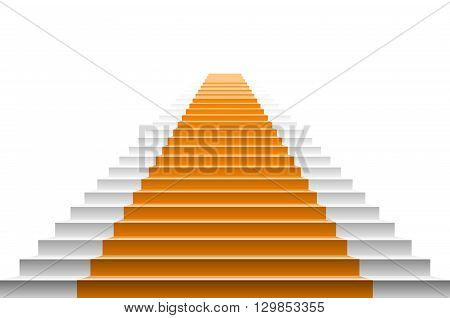 Staircase With Orange Carpet. Vector Carpet Stairs