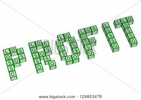 Word Profit written with blocks with letters LOS isolated on white background. 3D rendering.