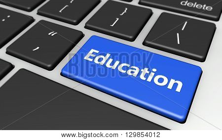 Online education and elearning concept with education sign and word on a blue computer key 3D illustration.