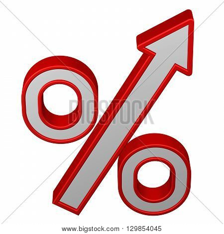 Concept: percent growth. Percent sign with arrow isolated on white background. 3D rendering.