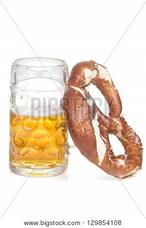pretzel and beer mug over white background