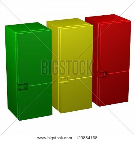 Three refrigerators: green yellow and red isolated on white background. 3D rendering.