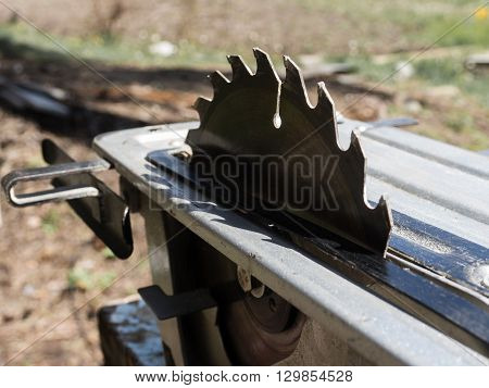 Electrical saw with circular blade for wood.