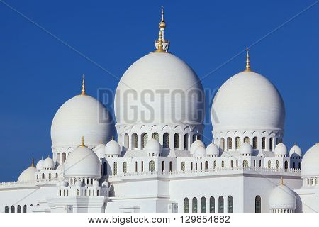 Horizontal view of famous Sheikh Zayed Grand Mosque UAE