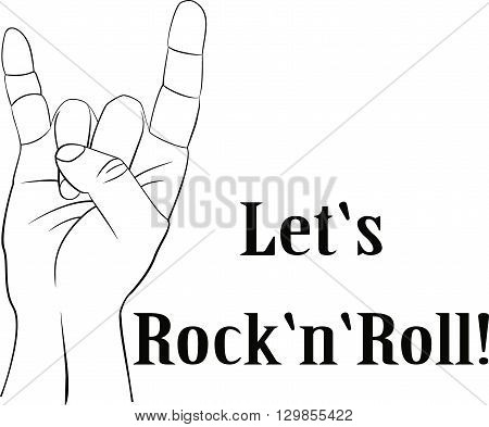 Rock n roll  or heavy metal sign of the horns line art