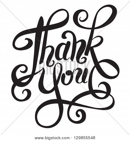 black and white thank you handwritten lettering inscription vector illustration
