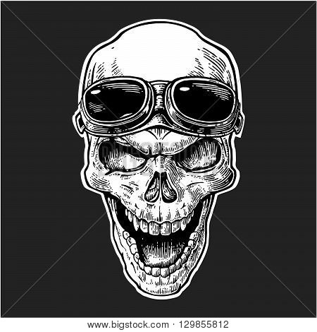 Skull smiling with glasses for motorcycle on forehead. Black vintage vector illustration. For poster and tattoo biker club. Hand drawn design element isolated on dark background